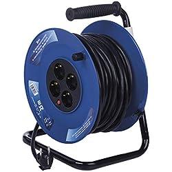 EMOS Enrouleur de câble avec câble renforcé, 25 m avec 4 Prises Schuko 2,5 mm, Tambour intérieur, Classe de Protection IP20 pour l'intérieur