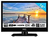 HKC 16M4: 39,6 cm (16 pollici) LED TV (Full HD, Triple Tuner, CI +, Media Player USB 2.0, Caricabatteria da auto 12V) [Classe energetica A +]