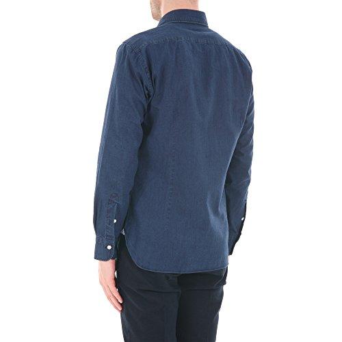 BARBA Herren Langarmshirt blau Denim Kragenweite: 41 Denim