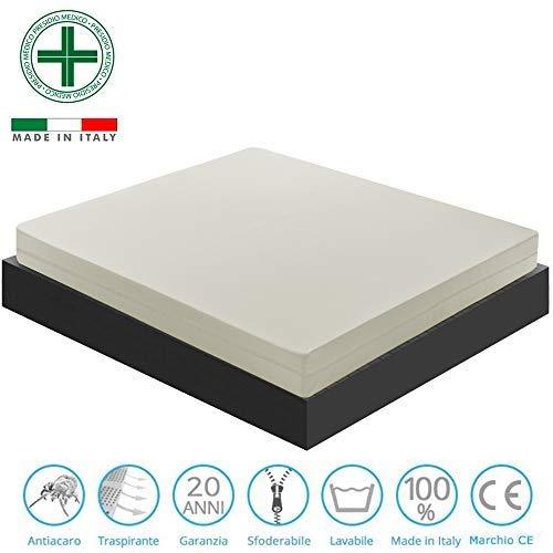 Materassiedoghe - materasso singolo sfoderabile 80x190 in waterfoam modello fabry - ortopedico - tessuto antiacaro - anallergico -antiacaro - inodore - certificato presidio medico (80x190)