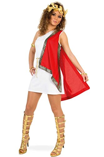 KarnevalsTeufel Damenkostüm Römerin Kleid mit Lorbeerkranz Tunika Antike Fasching Karneval International Länder Gr 34 - 40 (36)