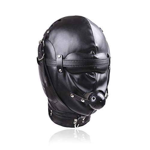 Maple Leaf Cosplay Ledermaske Unisex Gimp erotische Kopfbedeckung, geschlossene Bondage-Maske mit Mundball-Maske Halloween-Maskerade-Maske (Haut Maske Halloween)