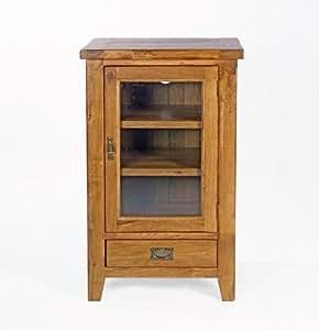 neo hi fi ferm meuble de rangement avec porte en verre en ch ne massif rustique en bois meubles. Black Bedroom Furniture Sets. Home Design Ideas