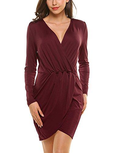 Beyove Damen Wickelkleid V Ausschnitt Langarm Kleid Vintage Abendkleid Freizeitkleid Casual Jerseykleid Partykeid Minikleid Etuikleid Bodycon Weinrot S