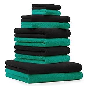 10 tlg. Handtuch Set Premium, Farbe: Smaragd Grün & Schwarz, 2 Duschtücher, 4 Handtücher, 2 Gästetücher, 2 Waschhandschuhe