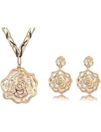 MARENJA Women's cristal-parure Jewelry Women's necklace and earrings flower pink Ajouree Gold Plate