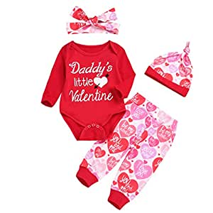 Covermason Girls Clothing Sets, Valentine's Day Outfits Gifts Newborn Baby Short Sleeve Romper Tops + Skirt + Hat Infant Clothe for 0M-18M