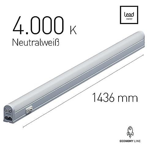 LED Unterbauleuchte |143.6cm | neutralweiß | LED Lichtleiste 19W | extrem hell -1800 Lumen | bis 12 Meter nahtlos erweiterbar | geeignete Lampe für die Küche, hinter Möbel, im Werkraum | 3 Jahre Garantie |Zertifiziert