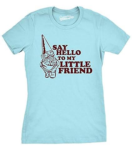 Crazy Dog TShirts - Womens Say Hello to My Little Friend Shirt Funny Lawn Gnome T Shirt (Blue) XXL - Femme