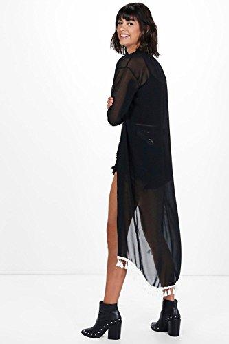 Damen Schwarz Arabella Maxi-kimono Mit Fransen Schwarz