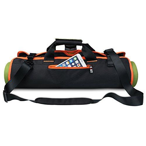 Sac de tapis de yoga Sac de rangement portable pour accessoires de yoga Sacoche imperméable multifonctionnel Sac à main Sac de bandoulière pour yoga Sac pratique pliable, Noir