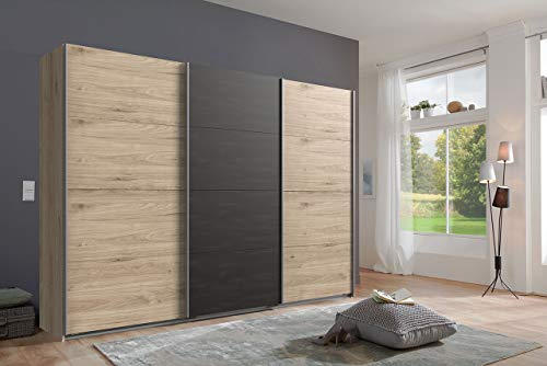 lifestyle4living Kleiderschrank in Hickory-Oak-Nachbildung mit Absetzungen in Stahl-Optik, Schwebetüren-Schrank mit viel Stauraum im angesagten Industrial-Look, 270cm - Hickory-schlafzimmer-möbel