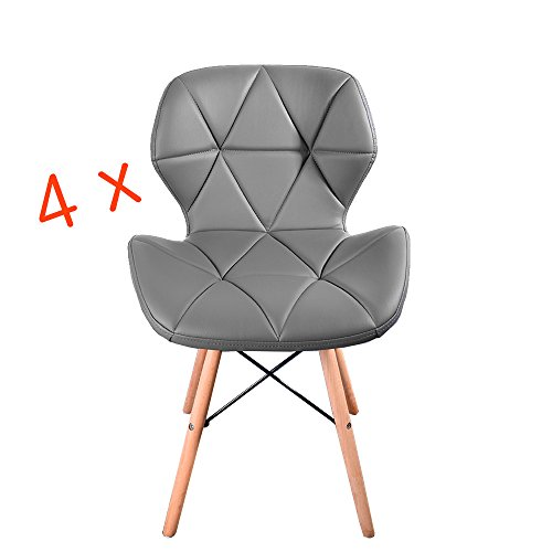 Panana 4x Eiffel Style Dining Wooden Chairs Wood Legs and Comfortable Padded Seat Grey