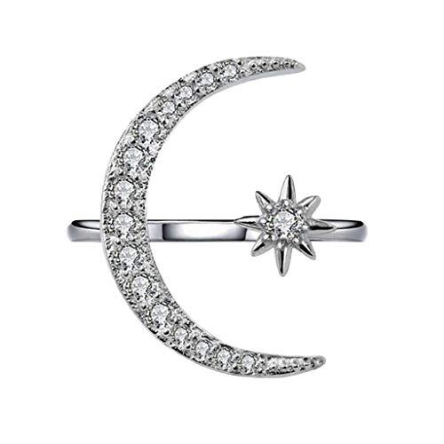 UINGKID Schmuck Damen Ring Mode Einfache Multicolor Diamond Moon Hexagonal Star