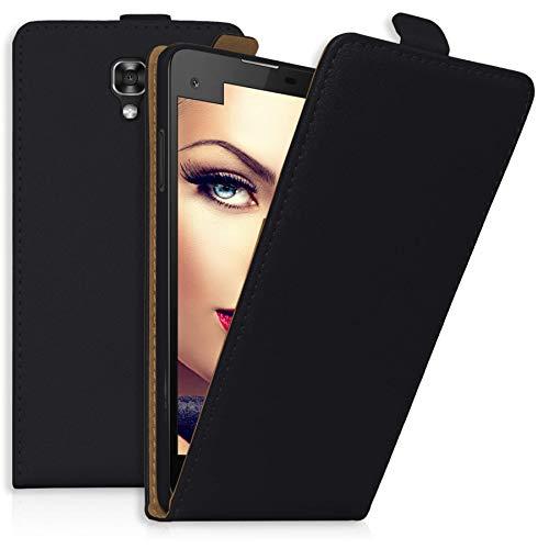 mtb more energy® Flip-Case Tasche für LG X Screen (K500N, 4.93'') | Schwarz | Kunstleder | Schutz-Tasche Cover Hülle