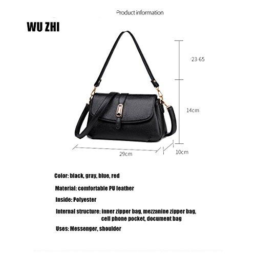 WU ZHI Damen Mittleren Alters Mutter Tasche Paket Großkapazität Multifunktions-PU-Schulter Messenger Bag Handtasche Blue