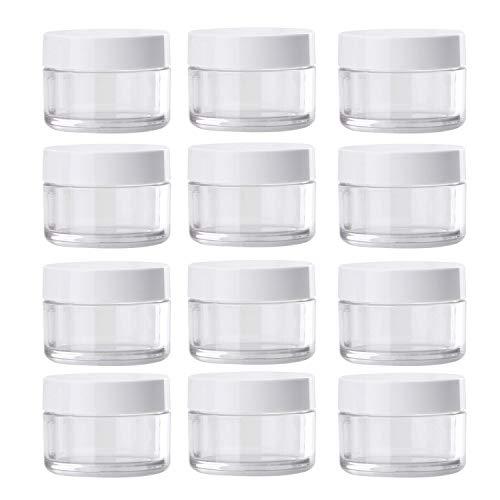 (Plastik-Dosen, 12 Stück, 1,7 oz, transparente Behälter, Flasche aus Kunststoff, zur Aufbewahrung, mit den Deckel in Weiß, mit Schrauben.)