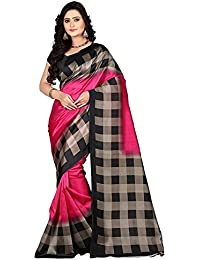 Shreeji Ethnic Women's Bhagalpuri Silk Check Saree With Blouse Piece (A-Pink Checks_Free Size)