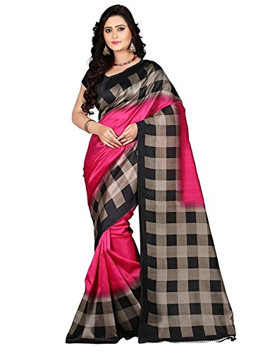 Shreeji Ethnic Women's Bhagalpuri Silk Check Saree With Blouse Piece (A-Pink Checks_Free Size)