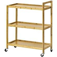 SoBuy® Carro de servicio 3 estantes, Estanteria para nichos, Trolley de cocina de bambú, FKW34-B-N, ES