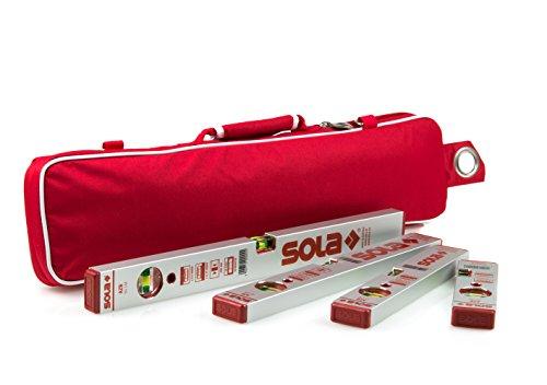 Sola Wasserwaage Aluminium AZB 4er Set 20 / 30 / 40 / 50cm mit Schutztasche Kurzlängen