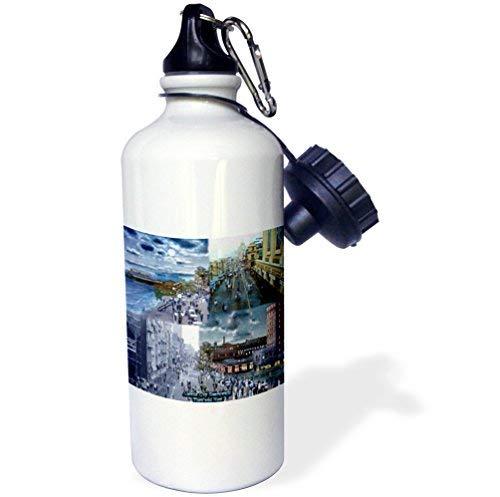 ANGELA G Atlantic City Boardwalk Then and Now Sport-Wasserflasche, 535 ml, Edelstahl, Weiß