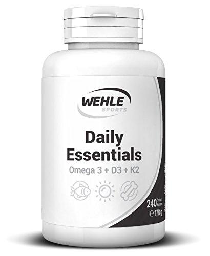 Wehle Sports Omega-3 Triglyceride + Vitamin D3 + Vitamin K2 Mk7 K2VITAL® 99+% All Trans Daily Essentials - Laborgeprüft - 240 Softgel Kapseln (240 Flüssigkeit)