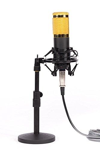 Alneo Essentials Kondensator Mikrofon-Set incl. Shock Mount Mikrofonhalter Mikrofonspinne, Mikrofonkabel XLR auf 3,5 mm Mini Klinke, Windschutz + Tisch-Mikrofonständer für PC, Laptop, Computer, Home Recording, Broadcasting, Karaoke, Gaming, YouTube, Video Chat usw