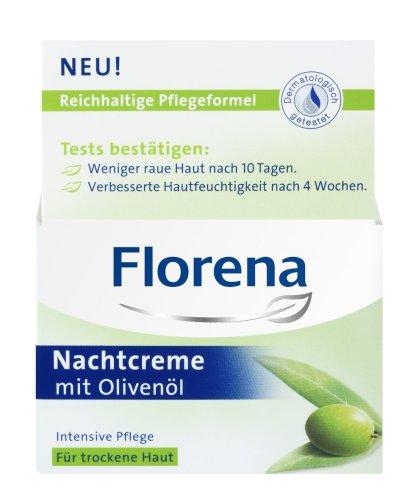 Florena Nachtcreme mit Olivenöl/ Intensive Pflege für trockene Haut/ 50ml/ Gesichtscreme/...