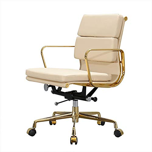 GIRISR Bürostuhl Computer Stuhl Home Modern Minimalist Bürostuhl Lift Drehstuhl Eames Ergonomischer Chef Stuhl Vergoldeter Bürostuhl