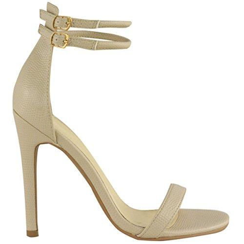 donna con spalline tacco a stiletto sandali cinturino alla caviglia POLSINO Scarpe con punta aperta color carne LUCERTOLA similpelle
