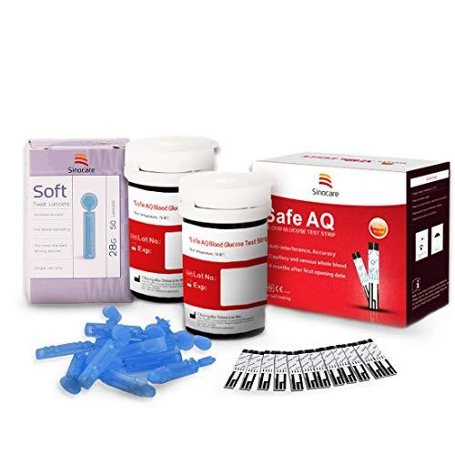 Sinocare Diabete Blood Glucose Test Strips x 50 & Diabetes Lancets x 50, Safe AQ Codefree Test Strips, Blood Suger Test Strips