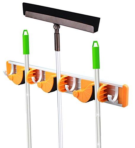 GAINWELL Gerätehalter für Besen und Mopp, Wandhalterung für Mopp und Besen, Ordnungsleist, Aluminium