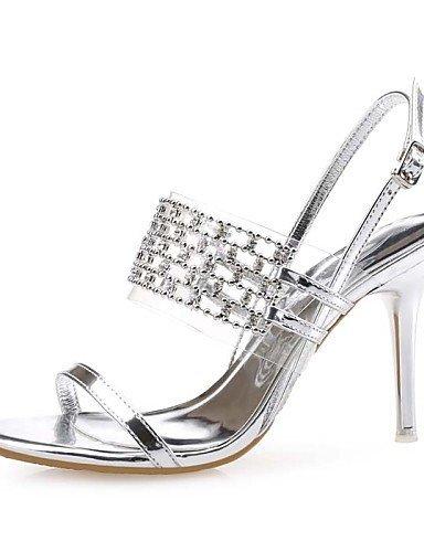 ShangYi Schuh Damenschuhe-Sandalen-Hochzeit / Kleid / Party & Festivität-Leder / Kunststoff-Stöckelabsatz-Absätze-Schwarz / Silber / Gold golden