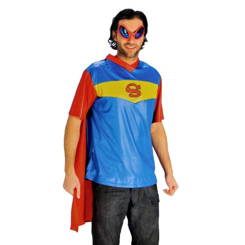Super Hero Fun Shirt mit Cape im Superman Style Superhelden Comic Kostüm Herren für Karneval und Fasching - (Cape Superhelden Mit Shirt)