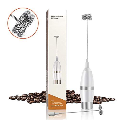 Alegender Elektrischer Milchaufschäumer, Batteriebetriebene Milchaufschäumer mit Doppeltem Quirl Handheld Milk Frother Mini Schäumer Milchschaum für Kaffee/Latte/Cappuccino