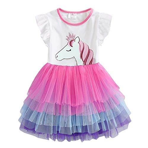 VIKITA Mädchen Kleider Sommerkleid Blume Baumwolle Lässige Kinderkleidung Gr. 92-128 SH4590 7T