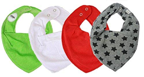 PIPPI * SUPER 3er Set Jungen Mädchen Baby Kinder HALSTUCH grau blau schwarz ★ + GRATIS 1 Bestseller Dreieckstuch Sterne ~ Pack mit 4 Stück (Rom & Grey Stars)