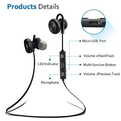 Bluetooth Kopfhörer Bovon Kabellose Magnetische Attraktive IPX4 Spritzwasserfest Sport Headset Stereo In-Ear Ohrhörer mit Mikrofon für iPhone, iPad, Samsung, Nexus, HTC und mehr (schwarz) - 6