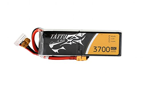 Tattu LiPo Battery Pack 3700mAh 14.8V 45C 4S Rechargeable RC Battery with XT60 Plug for FPV Racing Quad Copter Drone Airplane Aircraft Flight Blackout Mini Spider Hex 330 - Spider Quad
