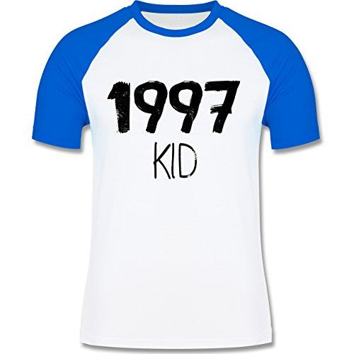 Geburtstag - 1997 KID - zweifarbiges Baseballshirt für Männer Weiß/Royalblau