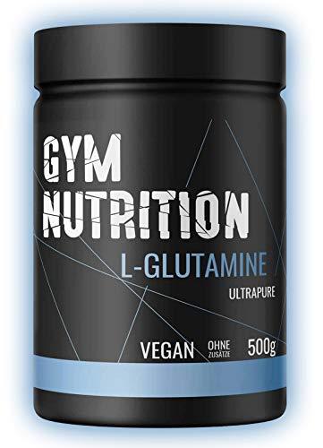 GYM-NUTRITION® L-GLUTAMIN Ultrapure Pulver extra hochdosiert & 99,5 {7862fc0bacedc71a2374ebe3de76d3a45b385861f9aa5956abf187d4c28ccbb5} rein proteinogene Alpha-Aminosäure, vegan - ideal für Body-Builder Made in Germany 500-g, Geschmack: NEUTRAL