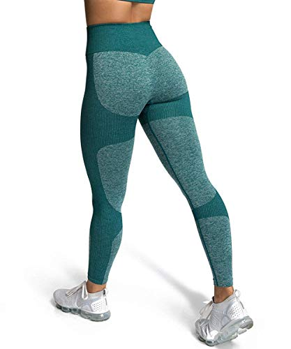 ShinyStar Damen Sport Leggings Nahtlos Elastische Kompressions Yoga Fitnesshose mit Hohe Taille für Workout Gym Joggen Trainings Grün S