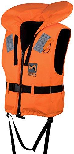 MESLE 100N Feststoff Rettungsweste mit Trillerpfeife, DIN EN ISO 12402-4 Zertifiziert, Größen: Baby bis 15 kg - XL 100+ kg, Schrittgurt, 210D Nylon Gewebe, orange, Größe:S