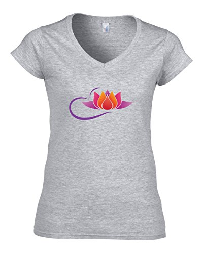 Yoga lotus beautiful logo minimal dammen V-neck baumwolle t-shirt Grau