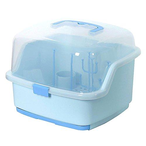 HTTMYY Baby Trockene Rack Abtropfen Lassen Milch-Flasche Geschirr-Aufbewahrungsbox Staubschutz Multifunktions Portable , blue