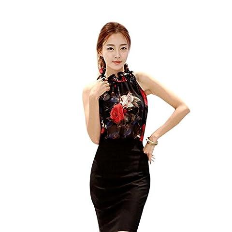 Fulltime(TM) Women Sexy Chiffon Sleeveless High Ruffle Neck Floral Shirt Tops Blouse (S, Black)