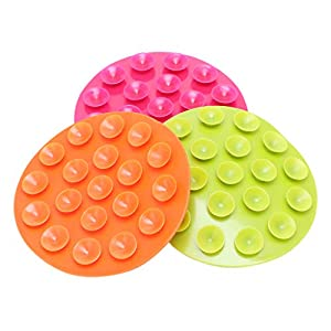Lyguy Baby Suction Cup Sucker Pad, Baby Feeding Bowl Cup Anti Slip Placemat Double Sided 19 Suction Sucker Mat Pads 1 Piece Colors Randomly   15