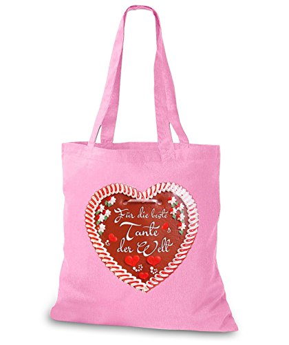 StyloBags Jutebeutel / Tasche Beste Tante Lebkuchenherz Rosa