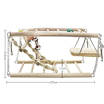 Gaddrt Animal Activity Toy Parrot Climbing Net Parrot Ladder Swing Budgie Hanging Toy Suspension Bridge Hammock Swing Ladder 2